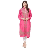 Buy Special Diamond Deal Pink Linen Kurta With Brown Embroidery  online