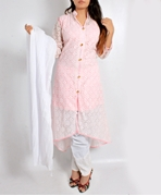 Big B Kurti -BABYPINK-NET-TAIL [Full 3pc Suit]