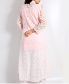 Buy Big B Kurti -BABYPINK-NET-TAIL [Full 3pc Suit]  online