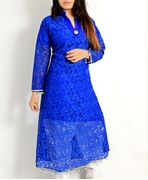 Big B Kurti: BLUE NET FROCK [STITCHED #313]