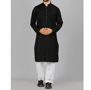 Formal Black Mix Cotton Kurta for Men