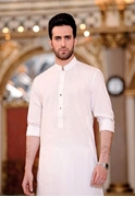 Stylish Formal White Mix Cotton Kurta for Men