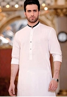 Formal Black Mix Cotton Kurta With black Contrast for Men
