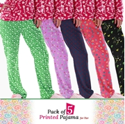 Pack of 5 Printed Pajama for Her
