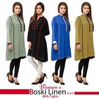 Womens Boski Linen Kurti With Tights