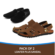 Buy 1 Get 1 Deal on Black loafer with 1 Brown Sandal