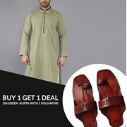 Buy 1  Get 1 Deal on Light Green Kurta with Kolhapuri
