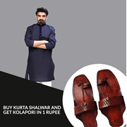 Buy Purple Kurta Shalwar And Get Kolhapuri In Just 1 Rupee
