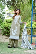 Lala Collection Lawn Print	Olive USS17-LAC-033B