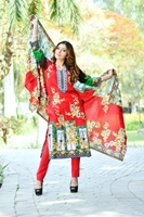 Lala Collection Lawn Print	Red USS17-LAC-034A