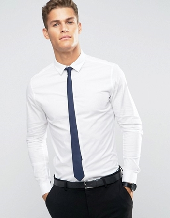 Buy Formal Shirt In White With Navy Tie  online