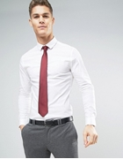Formal Shirt In White With MaroonTie