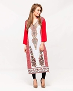 Afreen's Collection White & Red Floral Print Linen Kurta