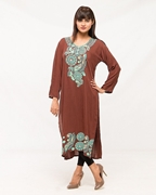 Afreen's Collection Brown Kurta With Sea Green Combination