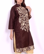 BBK- COTTON KURTI BROWN CZ 126