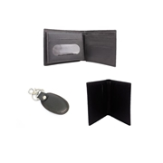 Pack of three Leather Wallet, card holder & Key ring