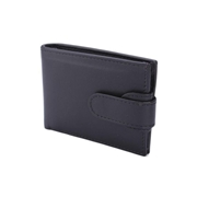 Black Men Leather Wallet with Double Loop Closure