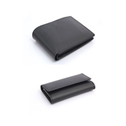 Pack of Two Black Men Leather wallet and Key pouch