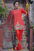 Motifz 1662-Red Embroidered Lawn Unstitched
