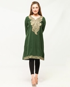 Dark Green Embroided Kurti With Black Tights For Women