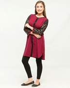 Stylish Casual Red Kurti with black tights For Women