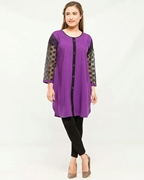 Stylish Casual Purple Kurti with black tights For Women