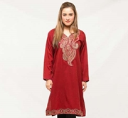 Maroon Embroided Kurti For Women