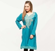 Blue Embroided Kurti For Women
