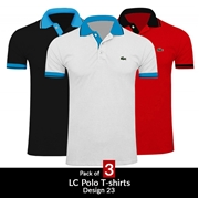 Pack of 3 LC Polo T-shirts Design 23