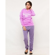 Wear Bank Women Purple French Terry Trouser FT-46
