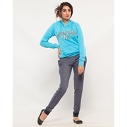 Wear Bank Women Blue French Terry Trouser FT-48