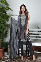 Lala Classic Cotton Prints Black & Steel Grey LCO-024