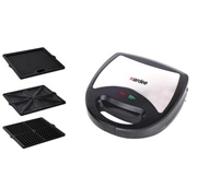 Aardee ARSM-1203 2 Slice Sandwich Maker with 3 Non-Stick Interchangeable Plates 1200Watts