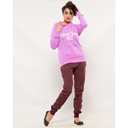 Wear Bank Maroon French Terry Sweat Trouser for Women FT-47