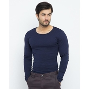 Wear Bank Navy Blue Cotton Thermal Full Sleeves Shirt Th-15