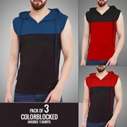 Pack of 3 Colorblocked Hooded T-shirts