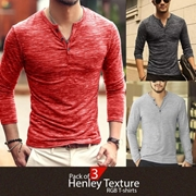 Pack of 3 Henley Texture RGB T-shirts