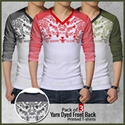 Pack of 3 Yarn Dyed Front Back Printed T-shirts