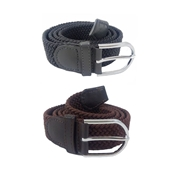 House of Leather Pack of 2 - Grey and Brown Stretchable Cotton Belt with Metal Buckle For Men CB-20
