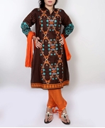 Big B Kurti: CZ #32 BROWN-EMBROIDERED-KURTI
