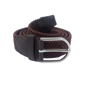 House of Leather Coffee Brown Stretchable Cotton Belt with Metal Buckle For Men - CB-10Br