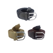 House of Leather Pack of Three - Grey, Fawn and Brown Stretchable Cotton Belt with Metal Buckle For Men CB-31