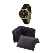The Shopkeeper Pack of 4 - Black Wallet, Card Holder, Belt & Wrist Watch for Men