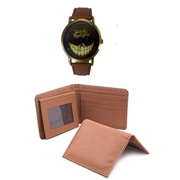The Shopkeeper Pack of 3 - Brown Wallet, Card Holder and Watch For Men - WW-07