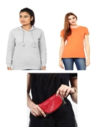 Pack of Three, Grey Women Hoodie, Orange Tshirt and Leather pouch