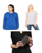 Pack of Three, blue Women Hoodie, grey Tshirt and Leather pouch