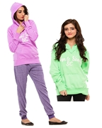 Pack of Three, Purple and Green Women Hoodie and French Terry Trouser