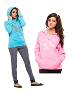 Pack of Three, Blue and Pink Women Hoodie and French Terry Trouser