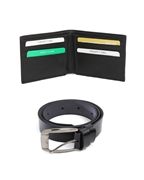 Pack of Two 100% Genuine Leather Wallet & Belt