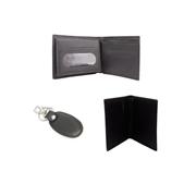 Pack of Three 100% Genuine Leather Wallet, Book Style Card Holder and Key Ring